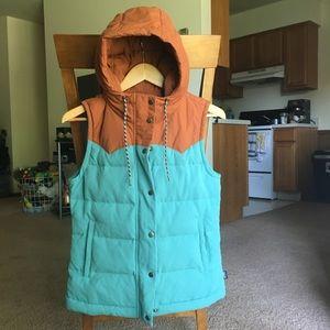Patagonia Bivy Puffer Vest Hood Blue Down Puff XS